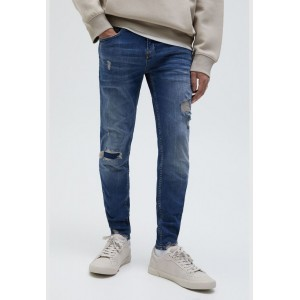 Men's Pull & Bear blue Skinny fit jeans with ripped legs Ships Free 8I0VJ6750