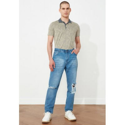 Men Trendyol blue Distressed Relaxed Fit Jeans New Arrival QACKP3916