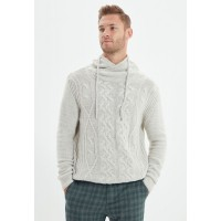 Men's Trendyol beige Shawl Neck Cable Knit Sweater WS8421088