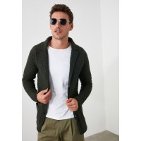 Men Trendyol army green Cable Knit Button Cardigan M5M3R7154