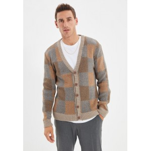 Men Trendyol brown Checked Button Cardigan Selling Well NBC1E9697