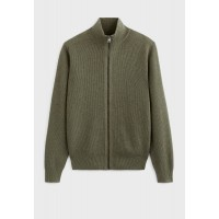 Men's Celio khaki green Knitted Zip Through Cardigan Selling Well VC4T07635