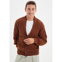 Men's Trendyol brown Shawl Neck Knitted Cardigan 2021 New 571I68566