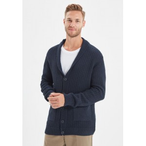 Men's Trendyol navy Shawl Neck Button Cardigan Selling Well OFF994607