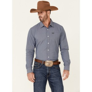 Kimes Ranch Men's Solid Navy Linville Coolmax Long Sleeve Button-Down Western Shirt Or Sale Near Me XGOLJ9703