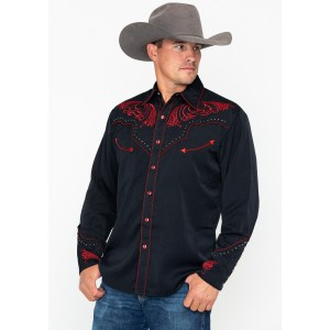 Scully Men's Red Embroidered Long Sleeve Western Shirt Designer MIATG801
