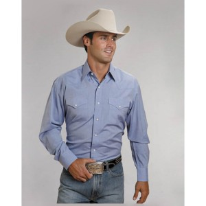 Stetson Men's Solid Snap Oxford Long Sleeve Western Shirt M8WNF969