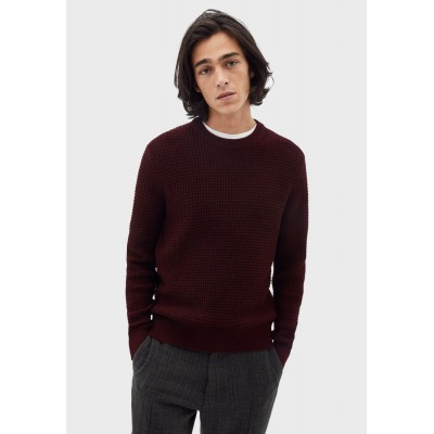 Men Celio burgundy Essential Knitted Sweater New FVXP86583