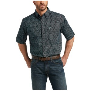Ariat Men's Iradell Stretch Geo Print Short Sleeve Button-Down Western Shirt Fitted WHRGK7474