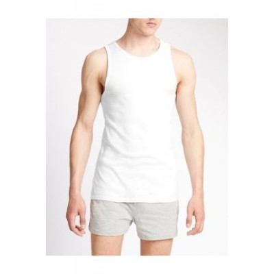 Marks & Spencer 3pk Pure Cotton Sleeveless Vests White Cotton Cost Men AQCX6457