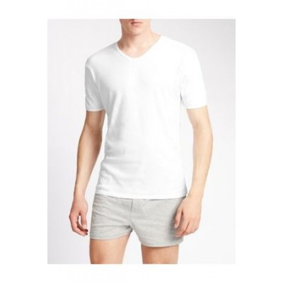 Marks & Spencer 3pk Pure Cotton V-Neck T-Shirt Vests White Cotton in style Men XXCD5184
