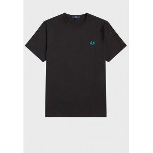 Men Fred Perry black Abstract Print Crew Neck T-Shirt 995HH8771