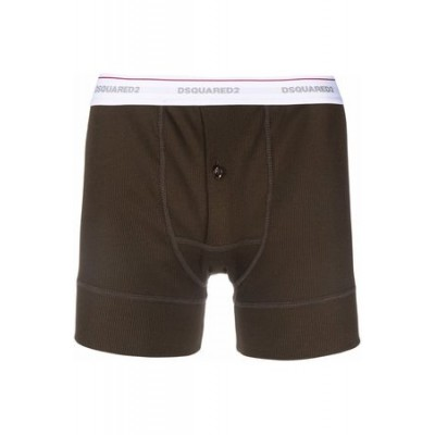 Dsquared2 Fine ribbed boxers Green Cotton on style Men DPTI4551