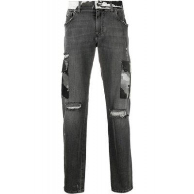 Dolce & Gabbana Ripped camouflage-detail bootcut jeans Black Cotton New for Men BDEJ8587